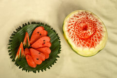 Water melon carving and slice Stock Images