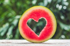 Free Water Melon Cut Into Heart Shape. Space For Text. Flat Lay Composition. Love Concept. Valentine`s Day Concept Stock Image - 105170911