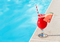Water melon fresh juice smoothie drink cocktail near swimming po Stock Photography