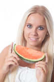 Water melon and girl Stock Photos