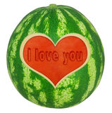 Water melon with heart Royalty Free Stock Photos