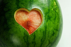 Water Melon with Heart Cut. Close-up of Water Melon with Heart Cut Stock Images