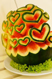 Water melon with heart shapes Royalty Free Stock Image