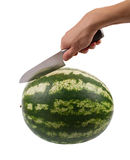 Water-melon is knifed on a white Stock Photos