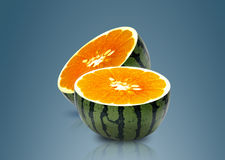 Water melon and Orange inside Royalty Free Stock Image