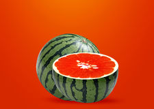 Water melon and Orange inside Stock Photo