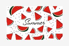Water Melon Pattern Striped Vector Illustration stock photos