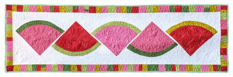 Water melon quilt. Rectangular quilt isolated on a white background Royalty Free Stock Photos