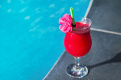 Water melon red fresh juice smoothie drink cocktail swimming pool Royalty Free Stock Photography