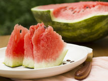 Water-melon. Remembering summer, we at once imagines the sea, the sun, sand and, of course, a water-melon. This berry is an ideal summer product as it satisfies Royalty Free Stock Image