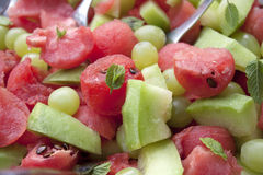 Water melon salad. Green and red with mint leaves Royalty Free Stock Photography