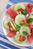 Water Melon Salad with halloumi cheese Royalty Free Stock Photos