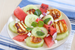 Water Melon Salad With Halloumi Cheese Royalty Free Stock Photography