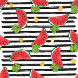 Water Melon Seamless Pattern Striped Vector Illustration. Stock Photography