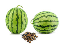 Water melon and seed on white background Royalty Free Stock Photos