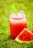 Water melon smoothie on the grass Stock Photo
