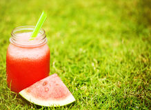 Water melon smoothie on the grass Stock Photos