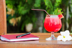 Water melon smoothie on wooden table Stock Images