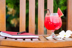Water melon smoothie on wooden table Royalty Free Stock Photography