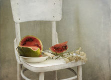 Water-melon on a white chair Stock Photos