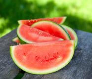 Water melon on wooden table Royalty Free Stock Image