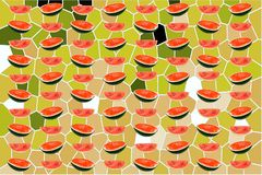 Water melons slice on green abstract background. Red water melons slice on green abstract background for illustration stock illustration