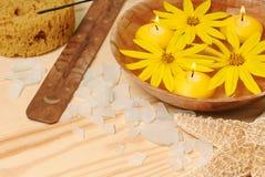 Water met gele bloemen voor KUUROORD Royalty-vrije Stock Foto
