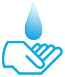 Water met hand Stock Foto
