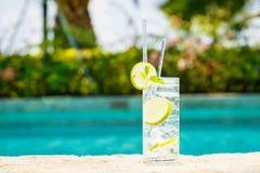 Water met ijs bij de rand van een toevluchtpool Concept luxe v royalty-vrije stock afbeeldingen