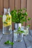 Water met kalk en munt in glazen Royalty-vrije Stock Afbeelding