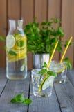 Water met kalk en munt in glazen Stock Foto's