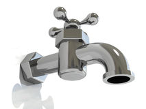 The water metal tap. The water metal shiny tap 3d Royalty Free Stock Photography