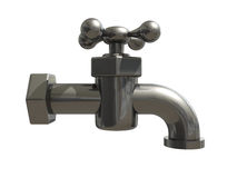 The water metal tap. The water metal shiny tap 3d Royalty Free Stock Image