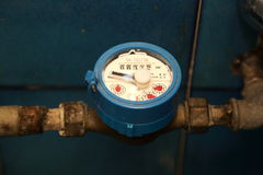 Water meter. Meter of water flow in a private home stock photo