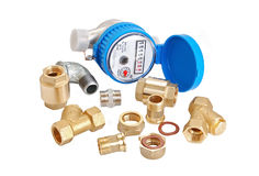 Water meter and inlet valve Royalty Free Stock Photos