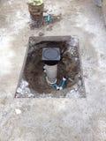 Water meter. Installation Stock Photo
