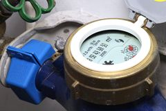 Water meter. Installed in private household stock image