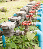 Water Meter and Red Valve. In the hospital Stock Photography