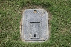 Water Meter. A residential water meter access panel allows the meter to be read by power company officials stock photos