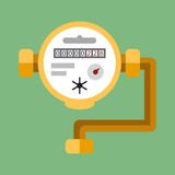 Water meter. Vector flat icon. Fragment of the water pipes of different diameters with a water meter Stock Images