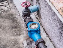 Water meter. With gate valve stock photos