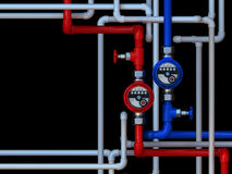 Water meters and taps. Communication of water meters and taps on a black background Stock Photography