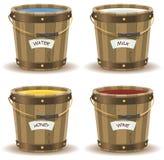Water, Milk, Honey And Wine Inside Wood Bucket stock illustration