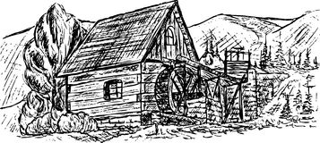 Water mill. Vector - drawing ancient water mill on mountains Stock Photography