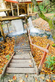 Water Mill in the autumn forest Stock Photo