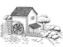 Water mill graphic art black white landscape illustration. Vector Royalty Free Stock Image
