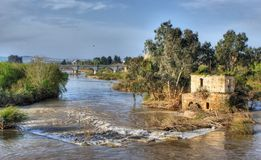 Water mill on the Guadalquivir river. In Spain royalty free stock image