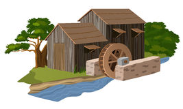 Water mill house vector. Illustration Stock Photos
