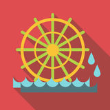 Water mill icon, flat style Stock Photography