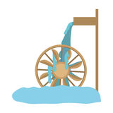 Water mill icon. Water mill wheel icon over white background. vector illustration Royalty Free Stock Image